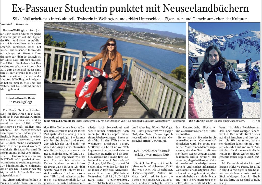 Ex-Passauer Studentin punktet mit Neuseelandbüchern (PNP, 23.05.2018, Autor: Stefan Rammer)