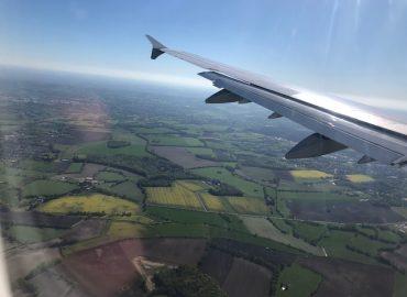 Flug über Rapsfelder