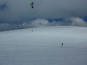 Snowkiting bei Wanaka auf der Südinsel